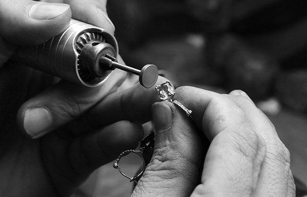 polishing engagement ring