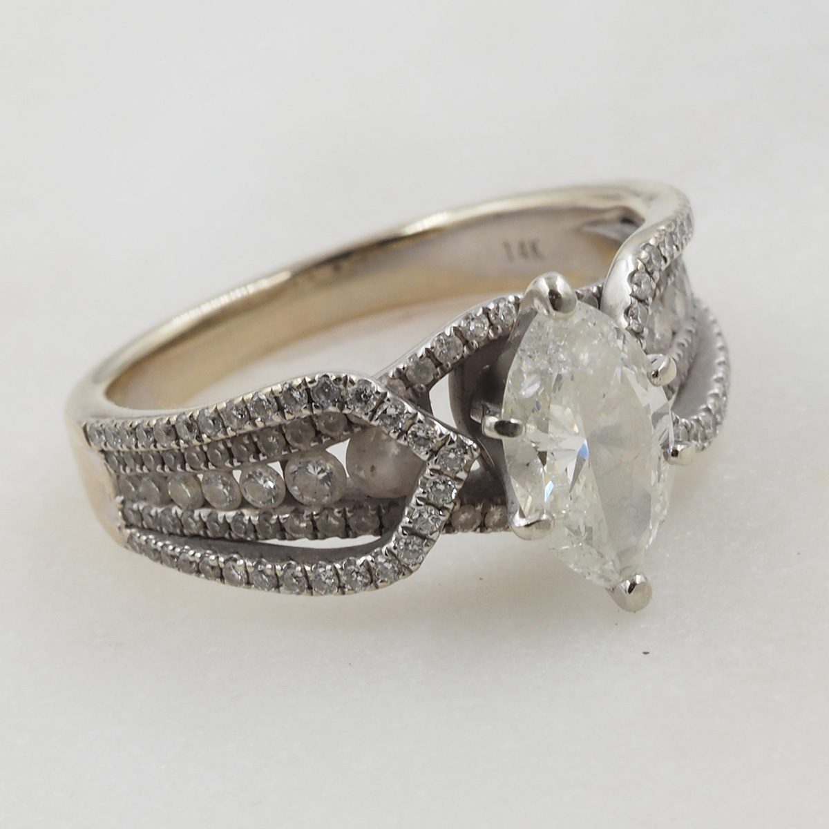 Rhodium wedding ring before cleaning